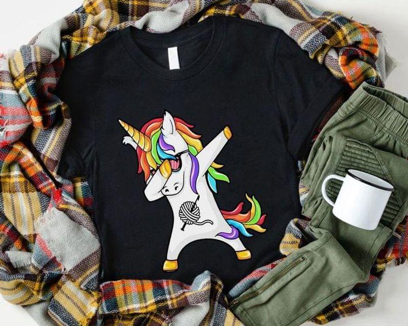 Crochet And Knitting Unicorn Lover Shirt Dabbing Unicorn Funny Art Black T Shirt Men And Women S-6XL Cotton
