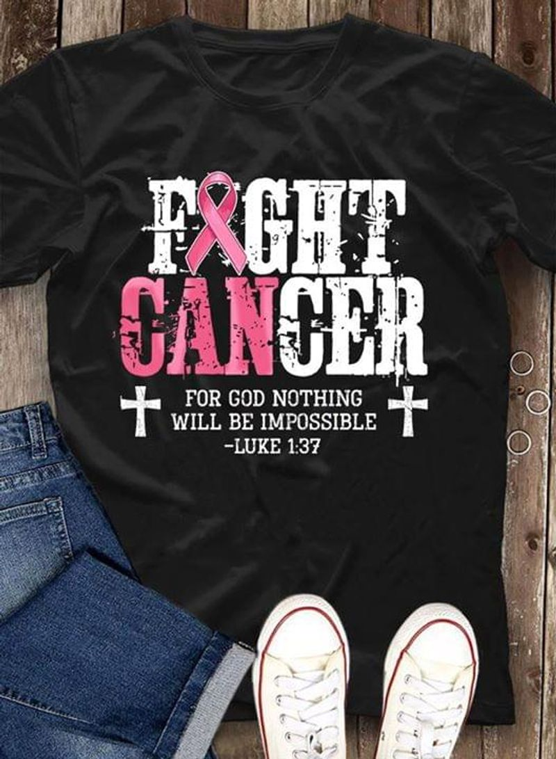 Cross Autism Awareness Fight Ganger For God Nothing Will Be Impossible Luke Black T Shirt Men/ Woman S-6XL Cotton