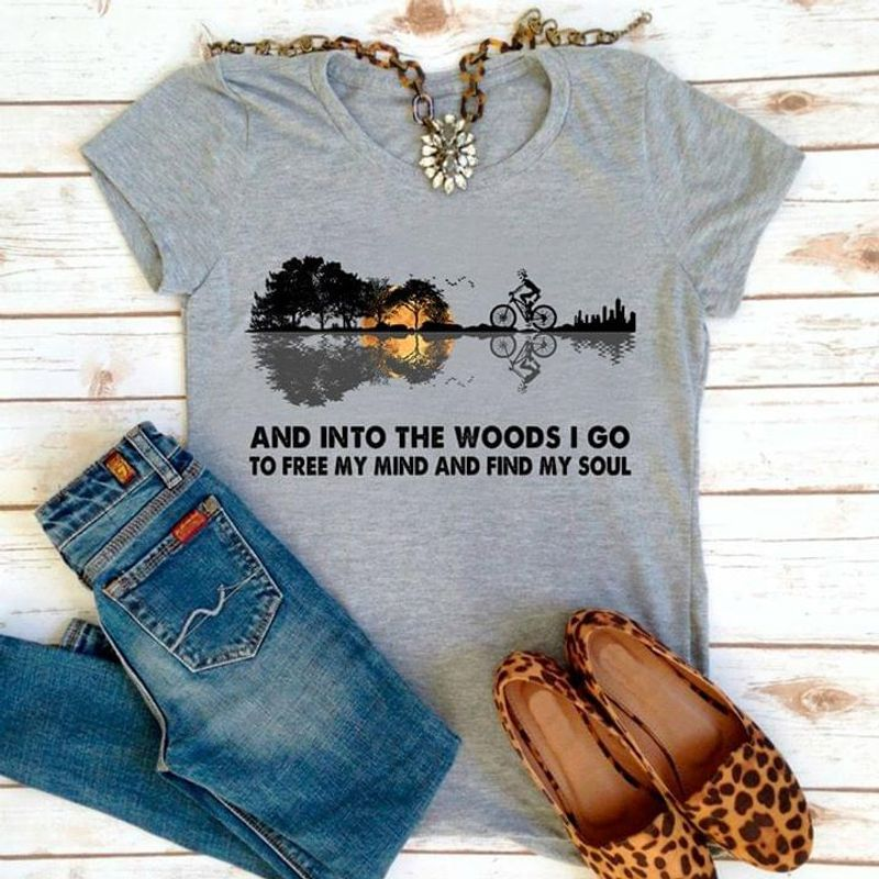 Cycling Guitar And Into The Woods I Go To Lose My Mind And Find My Soul Sport Grey T Shirt Men And Women S-6XL Cotton