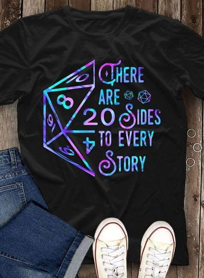 D&D Dice Vinyl Cheer Are Sides To Every Story Game Lovers Gift Black T Shirt Men/ Woman S-6XL Cotton