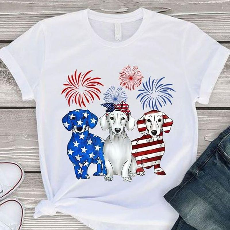 Dachshund Dogs Lover Independence Day 4th Of July White T Shirt Men/ Woman S-6XL Cotton