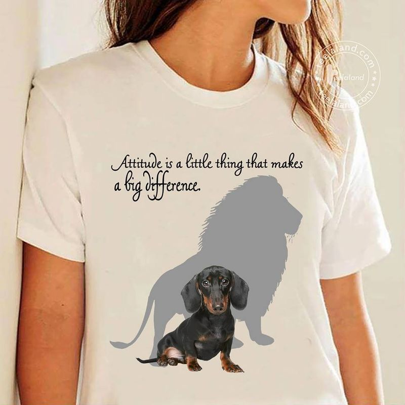 Dachshund With Lion Shadow Attitude Is A Little Thing That Makes A Big Difference T Shirt White C2