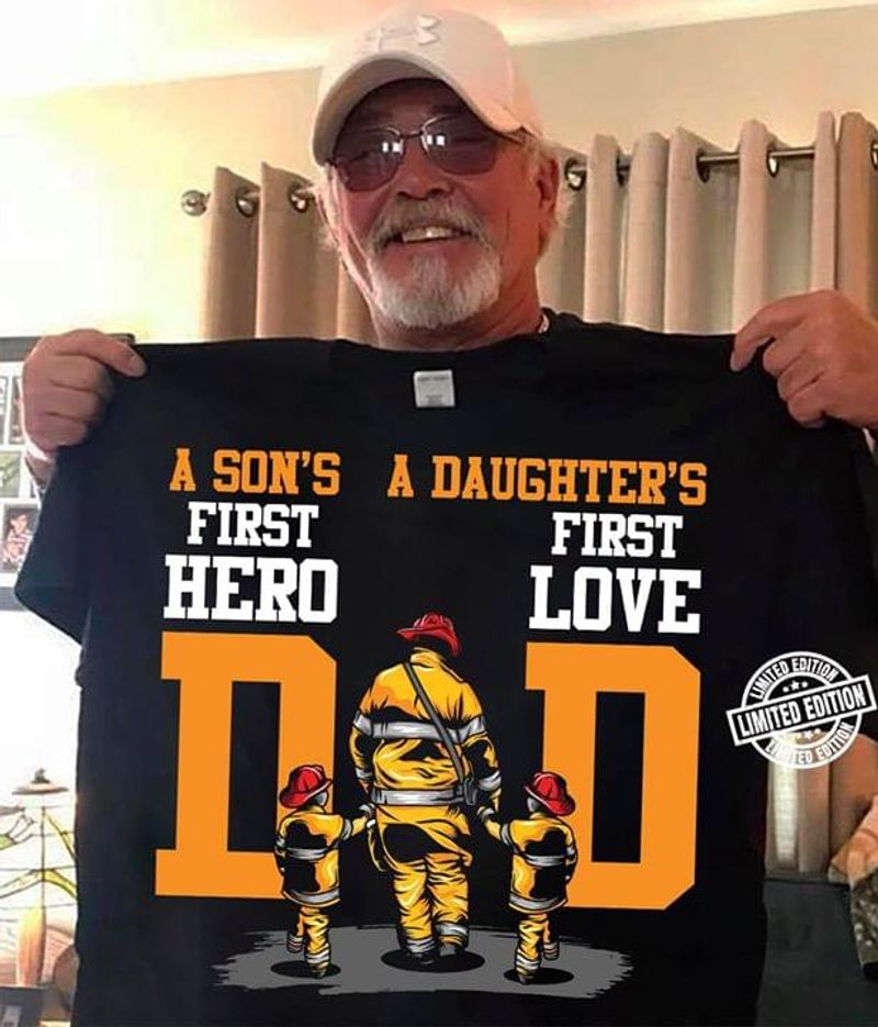 Dad And Son A Son's First Hero A Daughter's First Love Dad Black T Shirt Men/ Woman S-6XL Cotton