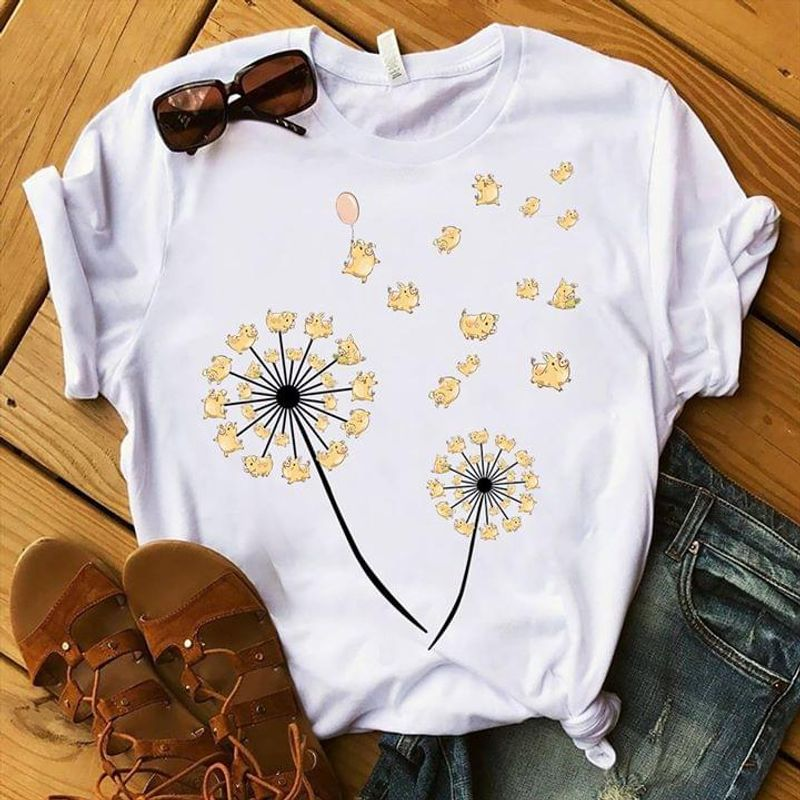 Dandelion Lovely Yellow Pigs T Shirt Farm Life Gift For Pig Lovers White T Shirt Men And Women S-6XL Cotton