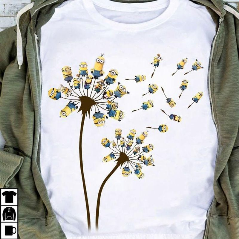 Dandelion Minions Funny T-shirt Minions Lovers Halloween Christmas Gift White T Shirt Men And Women S-6XL Cotton