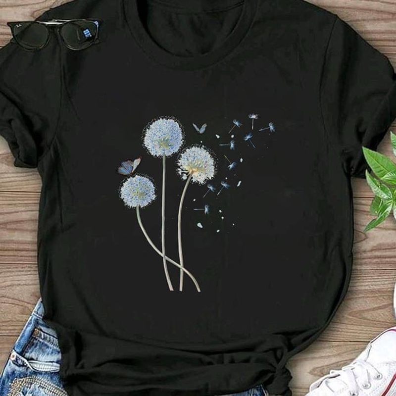 Dandelion Run Away And Live In The Woods Thanksgiving Gift Black T Shirt Men And Women S-6XL Cotton
