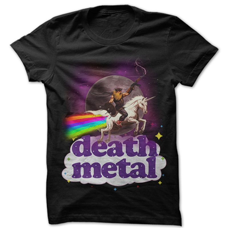 Death Metal Unicorn Tshirt Black A2