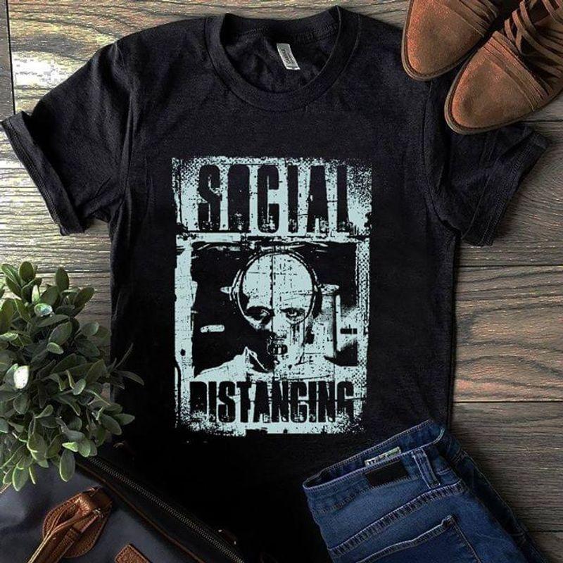 Death Moth Social Distancing Hannibal Lecter Black T Shirt Men And Women S-6XL Cotton