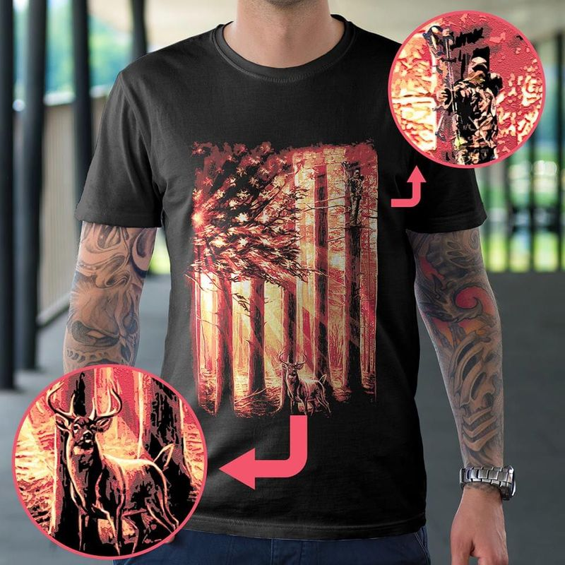 Deer Hunting Arrow Hunter American Flag Forest And Deer Graphic Black T Shirt Men And Women S-6XL Cotton