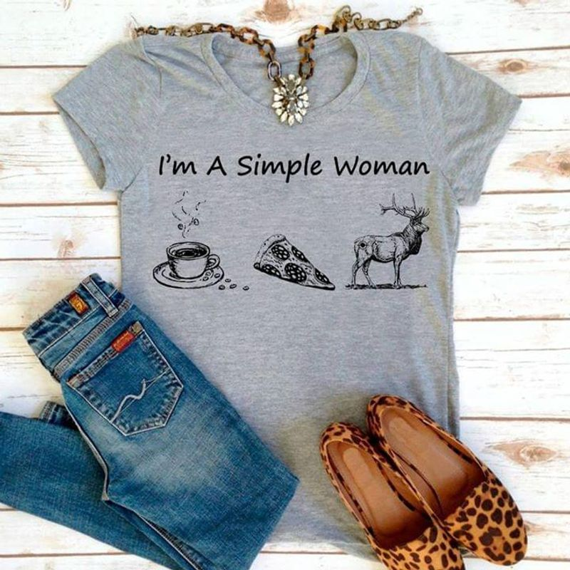 Deer Hunting Club Im A Simple Woman Coffee Cup Cake Deer Happy Life Dark Heather T Shirt Men And Women S-6XL Cotton