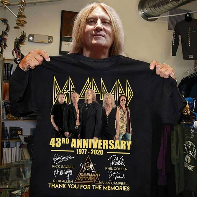 Def Leppard 43Rd Anniversary Signatures Of Members Thank You For The Memories Black  T Shirt Men/ Woman S-6XL Cotton