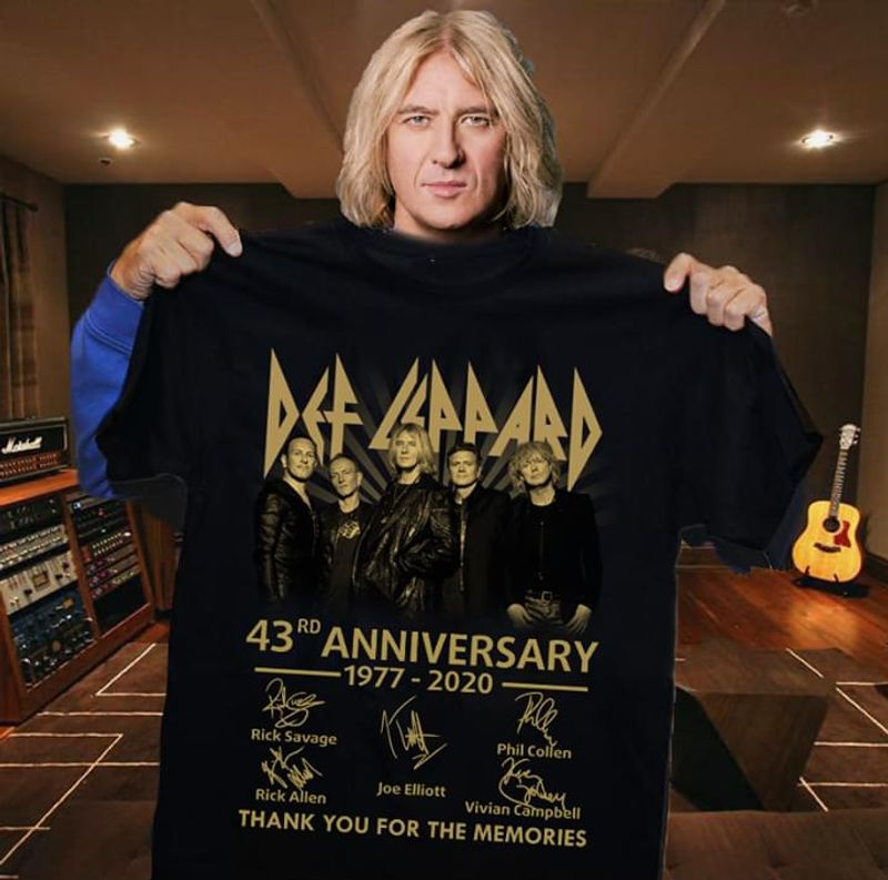 Def Leppard Lovers 43rd Anniversary Thank You For The Memories Signature Black T Shirt Men/ Woman S-6XL Cotton