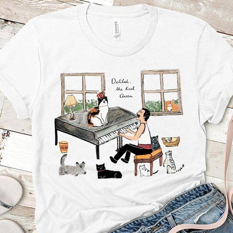 Delilah The Real Queen Cat Piano Pet Tom Jones A Famous Welsh Singer White  T Shirt Men/ Woman S-6XL Cotton