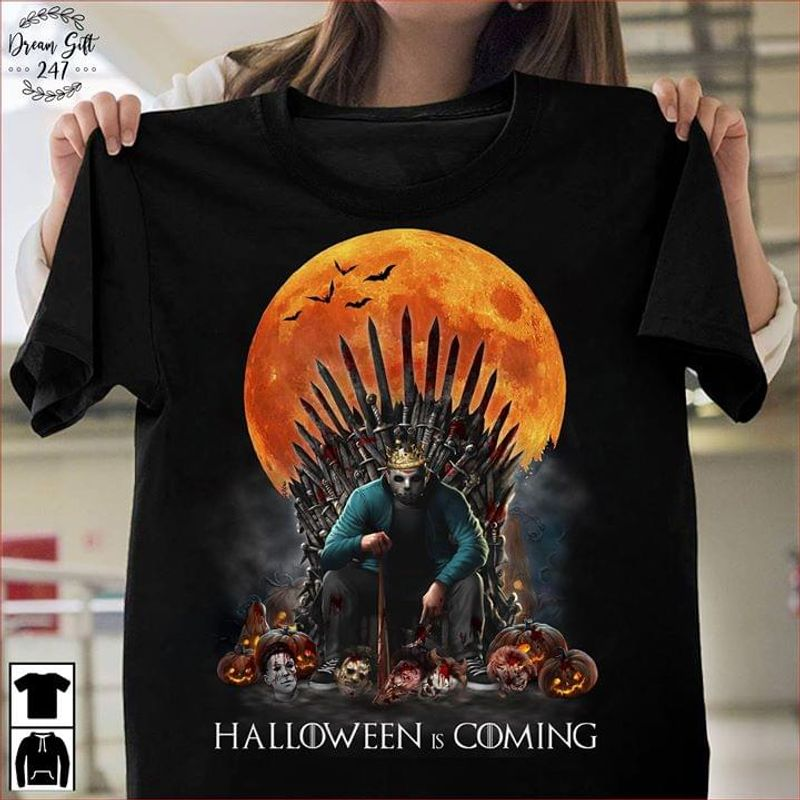 Delirious Throne Game Of Throne Halloween Is Coming Horror Movies Fans Black T Shirt Men And Women S-6XL Cotton