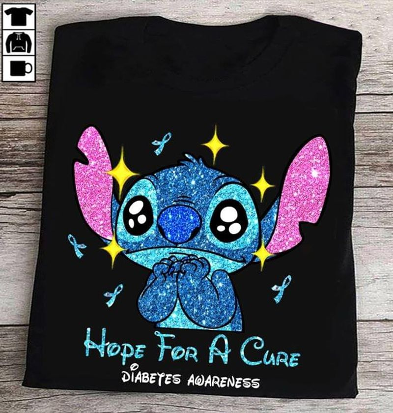 Diabetes Awareness Stitch Hope For A Cure Praying Stitch Black T Shirt Men And Women S-6XL Cotton