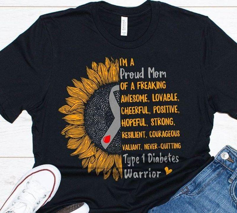 Diabetes Awareness Sunflower I'm A Proud Mom T-shirt  Diabetes Warrior Black T Shirt Men And Women S-6XL Cotton