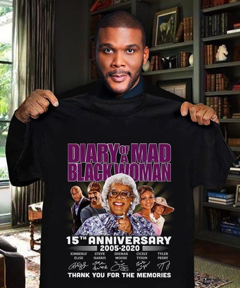 Diary Of A Mad Black Woman Fans 15th Anniversary Thank You For The Memories Signature Black T Shirt Men And Women S-6xl Cotton