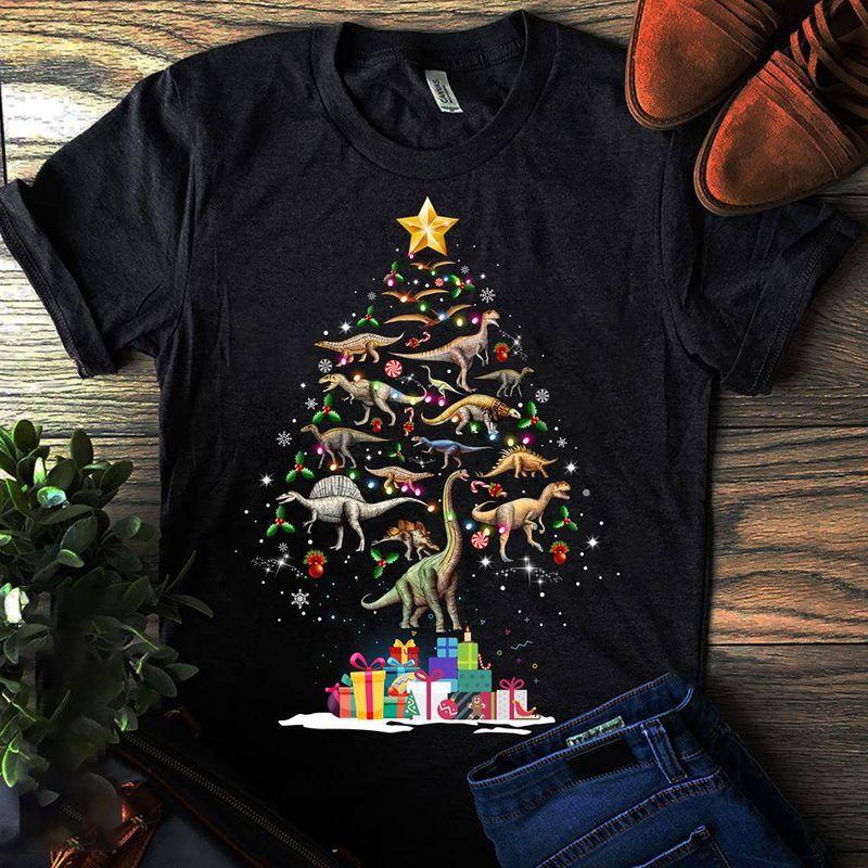 Dinosaur Christmas Tree T- Shirt Black