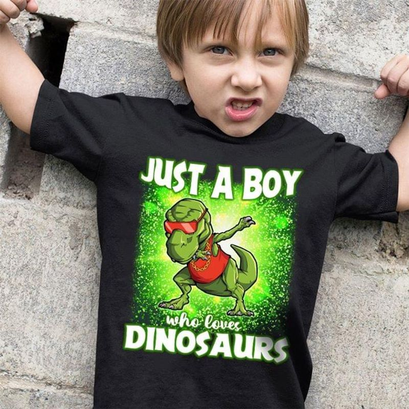 Dinosaur Lover Just A Boy Who Loves Dinosaurs Black T Shirt Men And Women S-6XL Cotton
