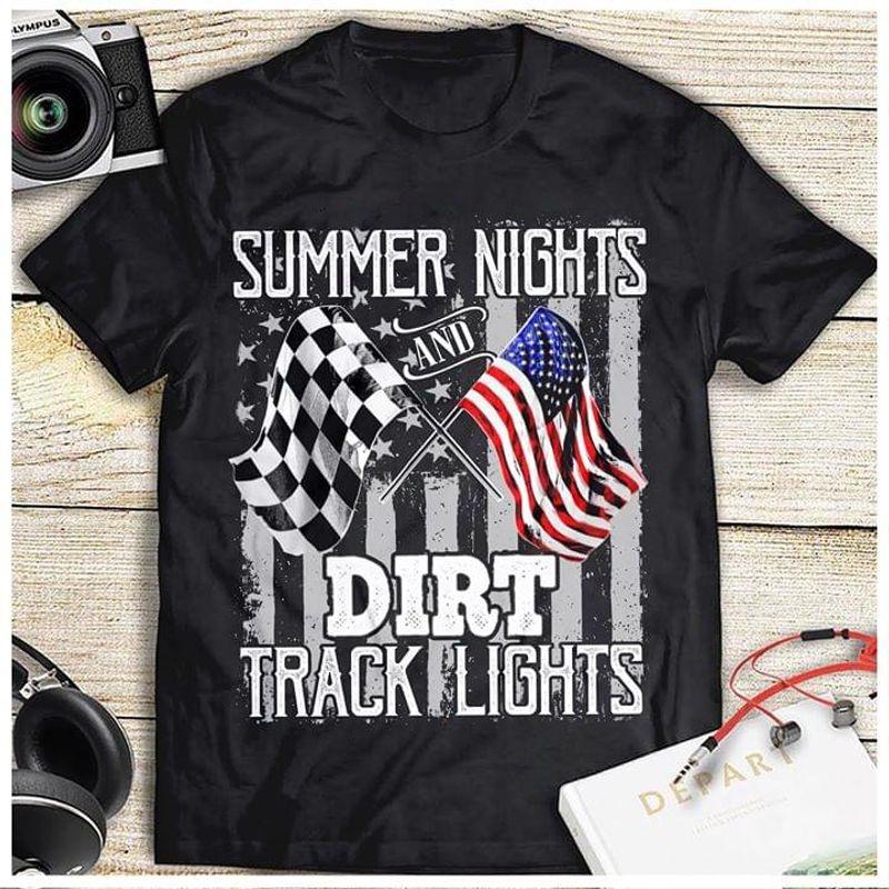 Dirt Track Racing Summer Nights And Dirt Track Lights American Flag Black T Shirt Men/ Woman S-6XL Cotton