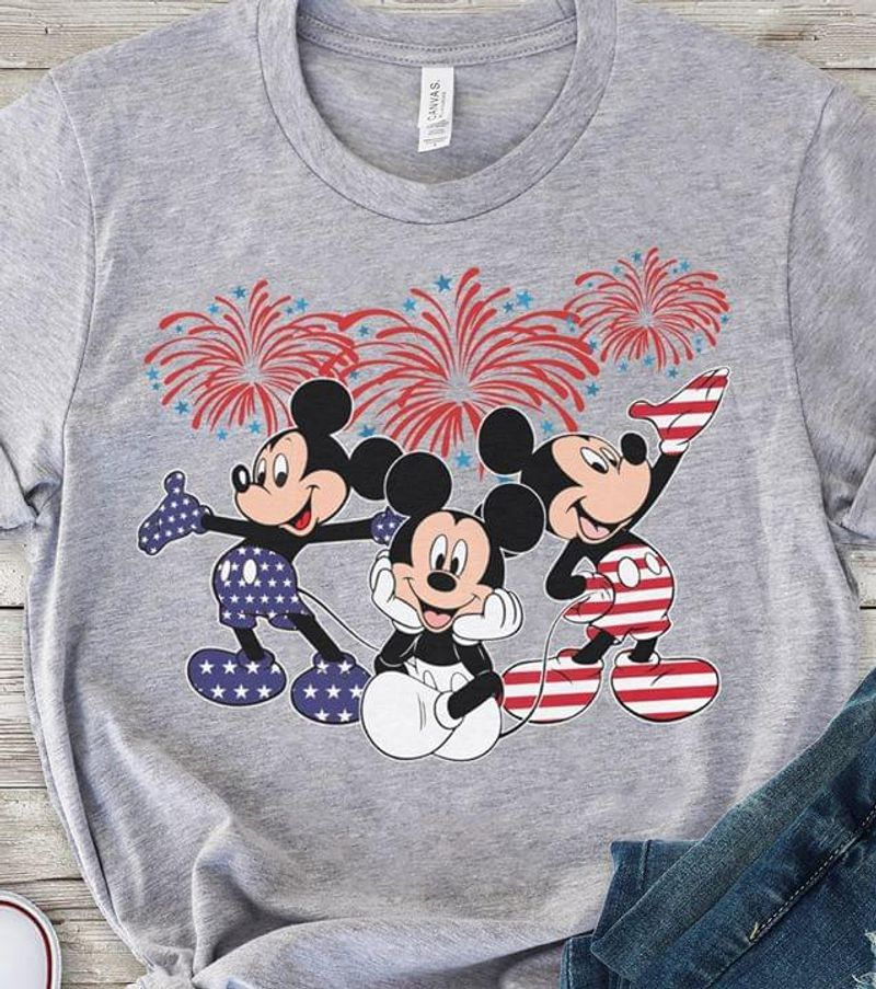 Disney Fans Mickey Mouse Lover Independence Day 4th Of July Grey T Shirt Men/ Woman S-6XL Cotton