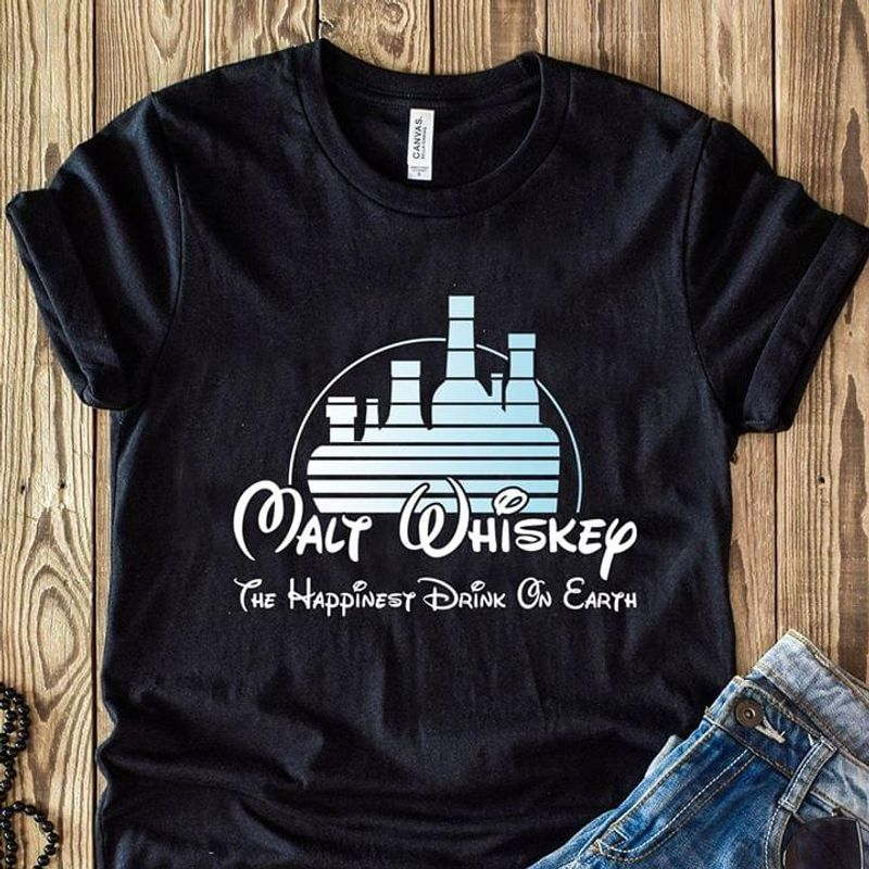 Disney Land Lover Walt Whiskey The Happinest Drink On Earth Black T Shirt Men And Women S-6XL Cotton