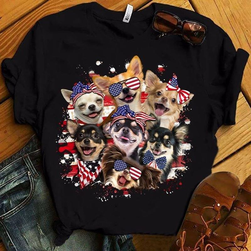 Dog Lover Happy Independence Day 4th Of July Black T Shirt Men/ Woman S-6XL Cotton