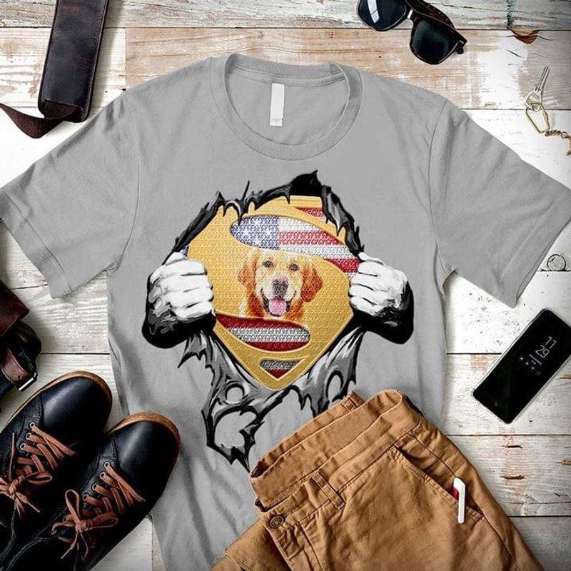 Dog Lover Super Golden Retriever Independence Day 4th Of July Grey T Shirt Men/ Woman S-6XL Cotton