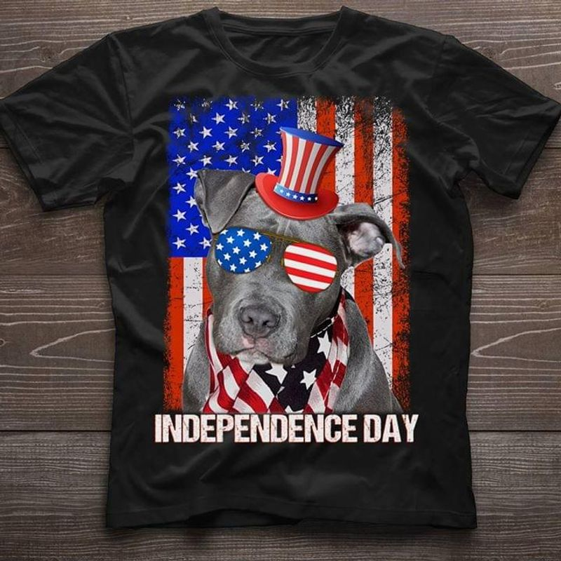 Dog Lovers Pit Bull Independence Day 4th Of July Black T Shirt Men/ Woman S-6XL Cotton