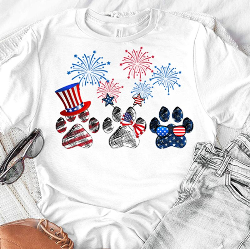 Dog Paws American Flag 4th Of July Firework T Shirt White