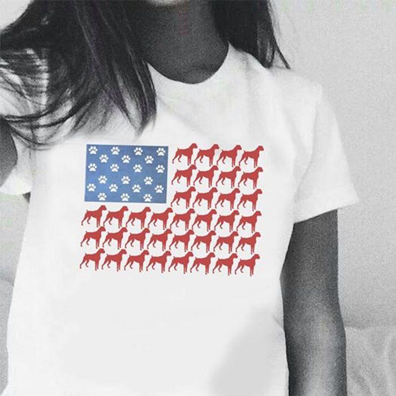 Dog Usa Flag T Shirt White A5