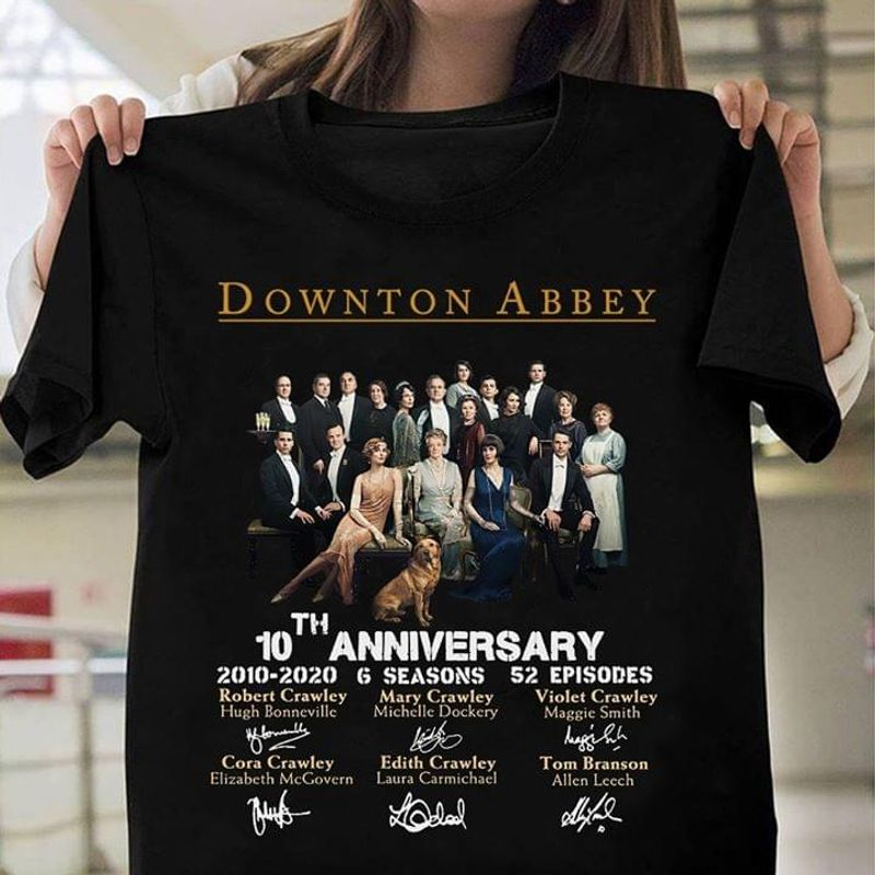 Downton Abbey 10Th Anniversary 6 Seasons 52 Episodes Best Gifts For Fans Black T Shirt Men/ Woman S-6XL Cotton