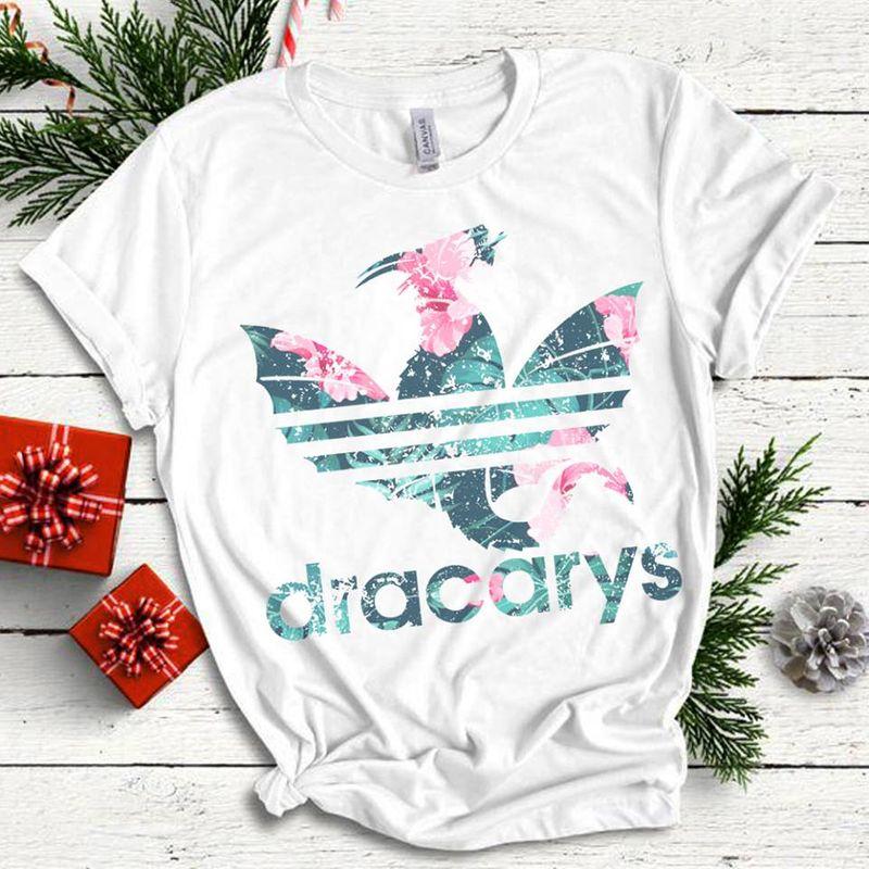 Dracarys Leaves And Flowers Logo T Shirt White B5
