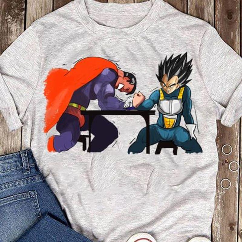 Dragon Ball Vegeta Vs Superman Arm-Wrestling Fan Sport Grey T Shirt Men And Women S-6XL Cotton