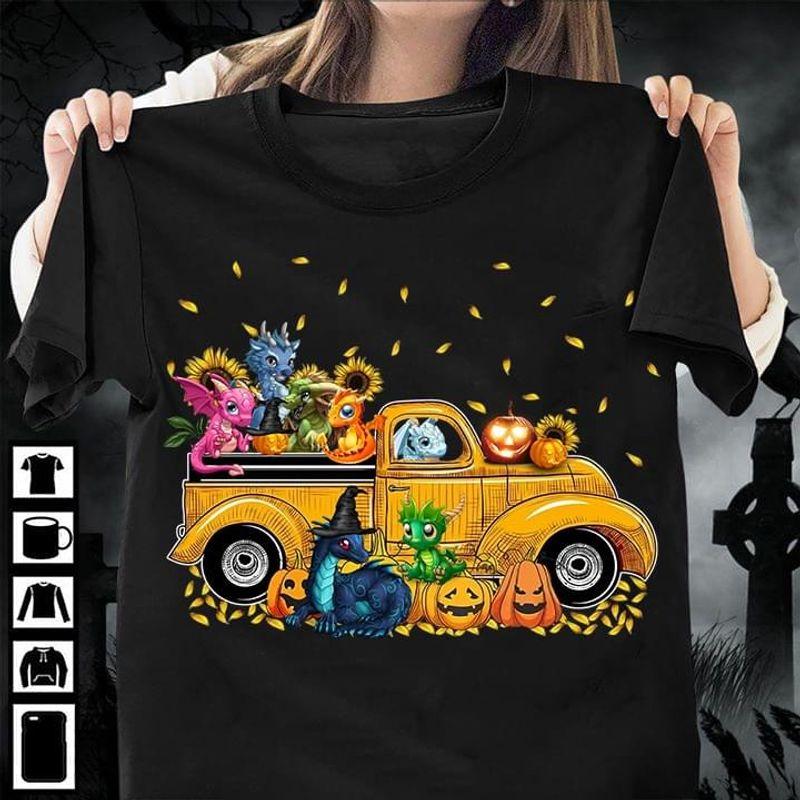 Dragon Family Sunflower Car Halloween Shirt Pumpkin Jack O Lantern Halloween Gift Dragon  Lovers Gift Black T Shirt Men And Women S-6XL Cotton
