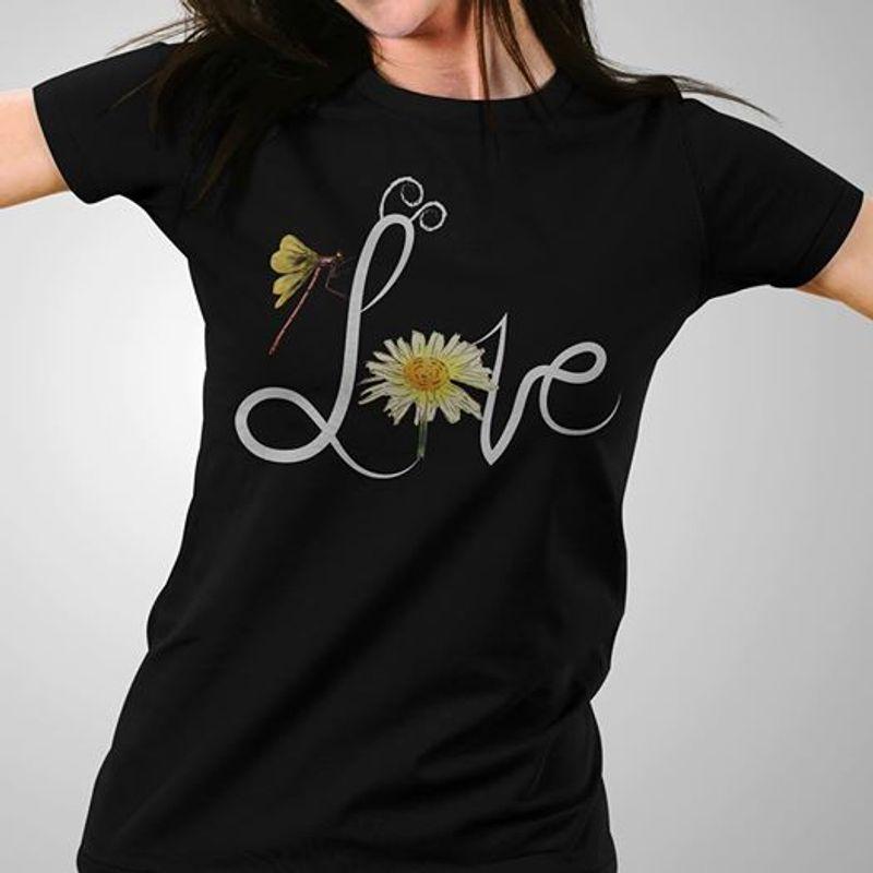 Dragon Fly Love  T Shirt Black A5