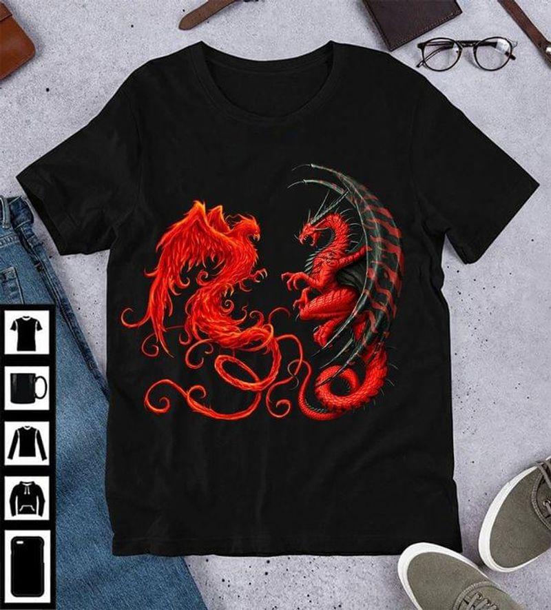 Dragon Vs Phoenix Funny Battles Art Design Tee Dragon Lover Gift Black T Shirt Men And Women S-6XL Cotton