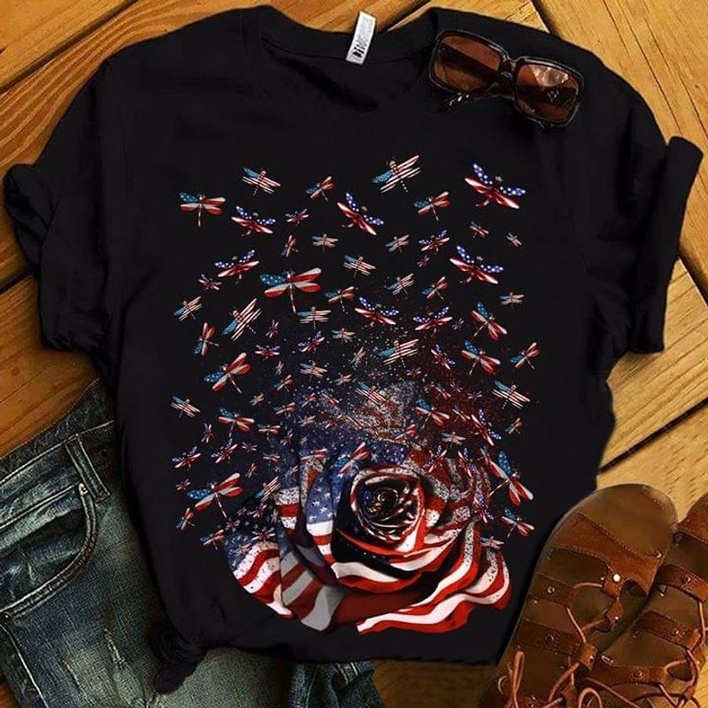 Dragonflies Rose American Flag 4Th July Independence Day A Great Gift Idea For Family, Friends T Shirt Men/ Woman S-6XL Cotton