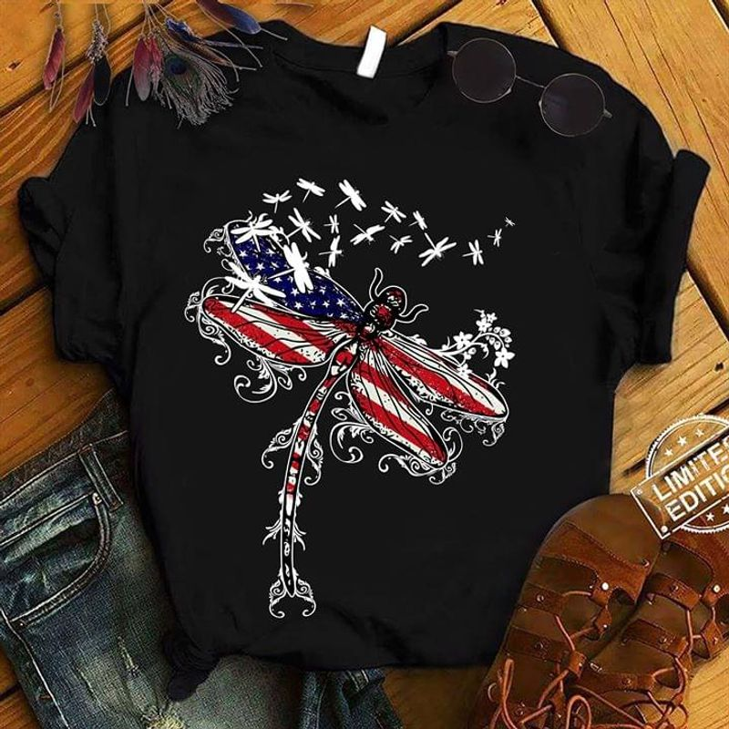 Dragonfly America Independence Day 4th Of July T Shirt S-6XL Men And Women Clothing