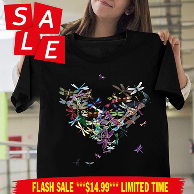 Dragonfly Heart T Shirt Black A8