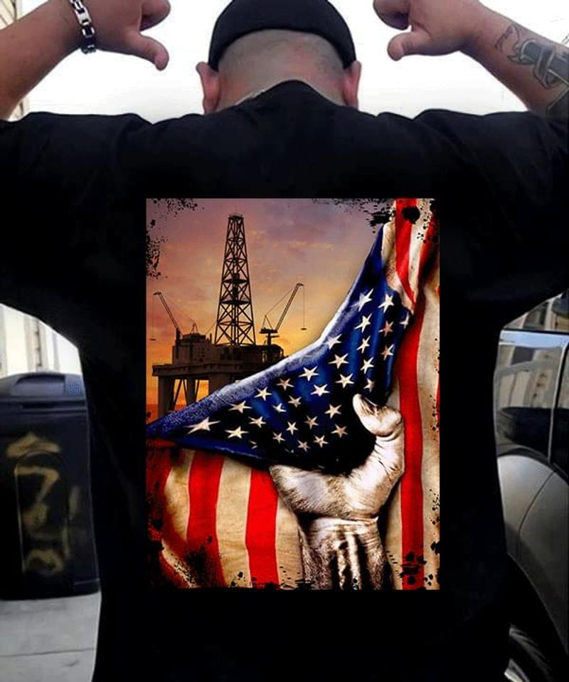 Drilling Rig American Flag Power Hands Backside Black T Shirt Men And Women S-6XL Cotton