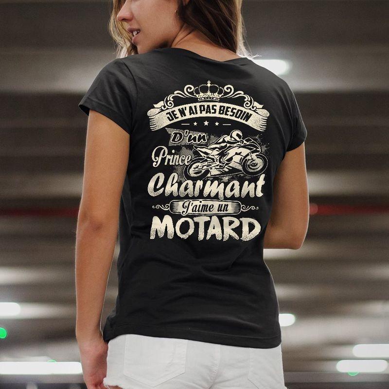Dun Prince Charmant Jaime Un Motard T-shirt Black A4