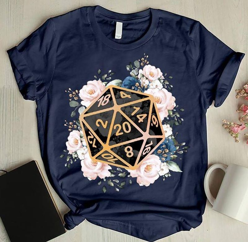 Dungeons And Dragons 20 Sided Dice With Flowers Pattern Love Game BlackT Shirt Men/ Woman S-6XL Cotton