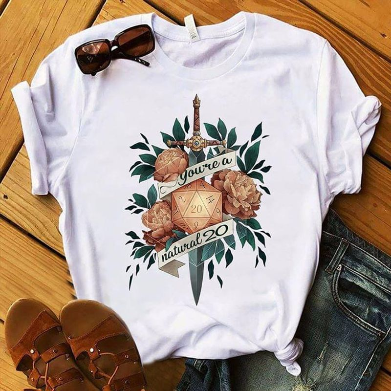 Dungeons And Dragons You'Re A Natural 20 Polyhedral Dices Vintage Flowers WhiteT Shirt Men/ Woman S-6XL Cotton