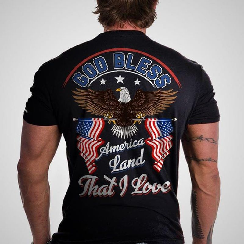 Eagle God Bless America Land That I Love Independence Day T Shirt Men/ Woman S-6XL Cotton