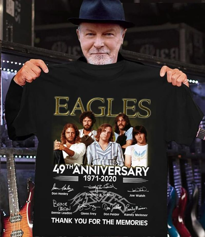 Eagles Band Fans 49th Anniversary Thank You For The Memories Signature Black T Shirt Men/ Woman S-6XL Cotton
