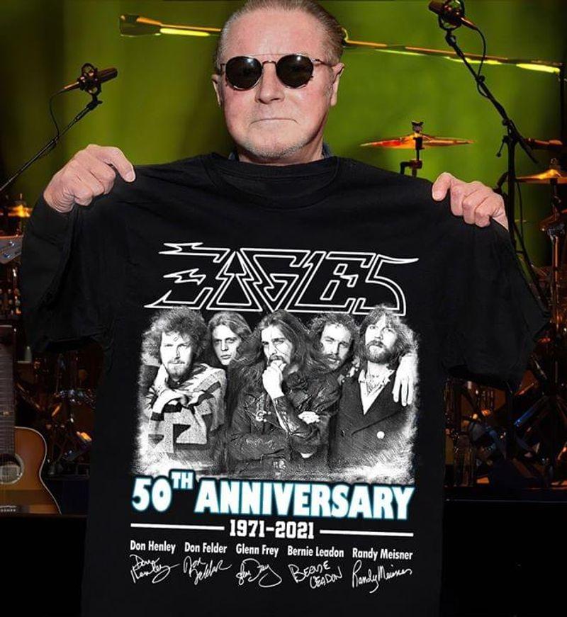 Eagles Fandom 50th Anniversary Thank You For The Memories Signature Black T Shirt Men/ Woman S-6XL Cotton