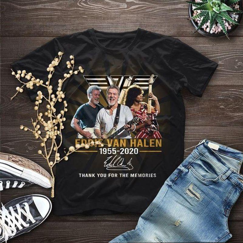Eddie Van Halen Lovers 1955 2020 Signature Gift For Fans Black T Shirt Men And Women S-6XL Cotton