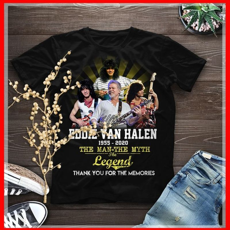Eddie Van Halen The Man The Myth The Legend Eddie Van Halen Thank You For The Memories Black T Shirt Men And Women S-6XL Cotton