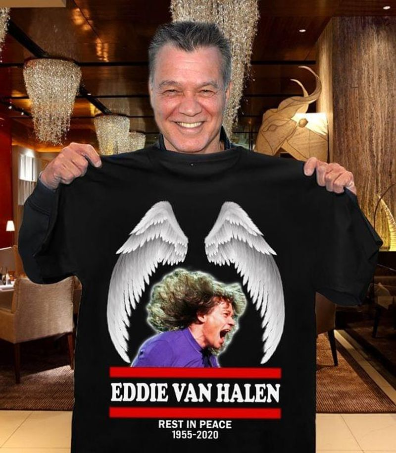 Eddie Van Halen Wings 1955 2020 Legend Neve Dies Eddie Van Halen Fan Gift Black T Shirt Men And Women S-6XL Cotton